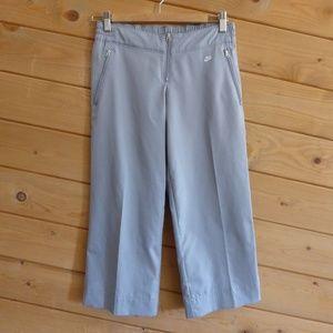 Nike Gray Waistband Crop Track Pants Gym Pocket